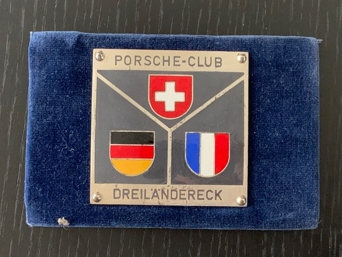 Original historische Porsche Club Dreiländereck Plakette
