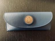 Original Karosserie Reutter Leder Brillenetui blau